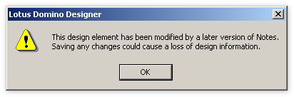 This design element has been modified by a later version of Lotus Notes