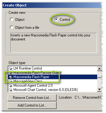 Create Object - Control - Macromedia Flash Paper